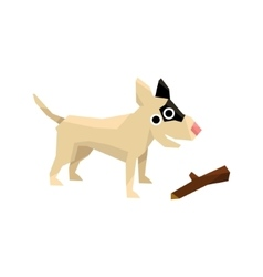 Bull Terrier And A Stick vector image