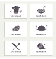 Business cards set with outline style food vector image vector image