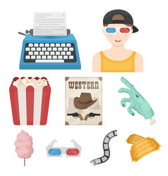 films and cinema set icons in cartoon style big vector image vector image