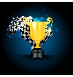 Golden Trophy and Flag vector image vector image