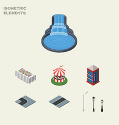 isometric city set of flower decoration street vector image