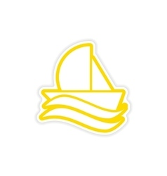 Paper sticker sailing ship on white background vector