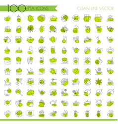 tea line icon set lined icon about tea cup and vector image
