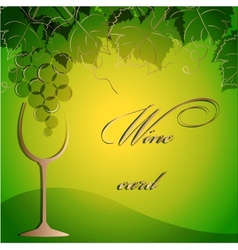 Template of alcohol card with grapes and a glass vector image vector image