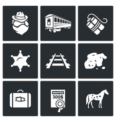 Train robbery in the Wild West icons set vector image vector image
