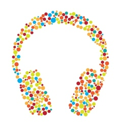 Headphones consist of dots vector image vector image