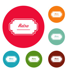 old label icons circle set vector image