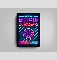 retro movie festival postcard typography design vector image