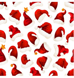 santa red hats christmas seamless pattern vector image