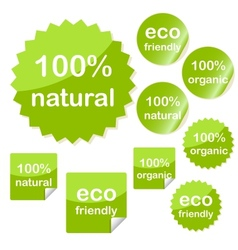 Set of sticky eco web icons vector image