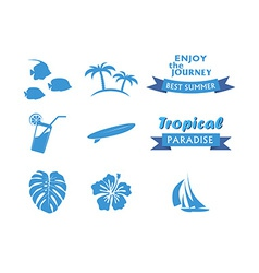 Set of Tropical Icons in flat style vector image vector image