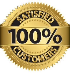 100 percent satisfied customers golden label vector