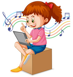 A girl using tablet for distance learning online vector
