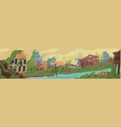 Abandoned post apocalyptic world cartoon vector