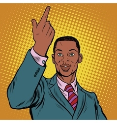 African American businessman pointing finger up vector image