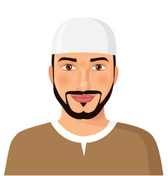 Arabic oman man face avatar character vector