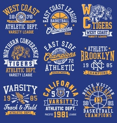 Athletic themed graphics emblems and layout set vector