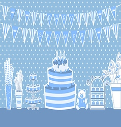 Baby shower and sweets on the table vector
