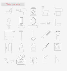 bath set style line icons on white vector image