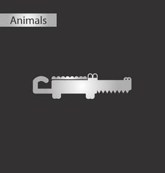 black and white style icon crocodile vector image