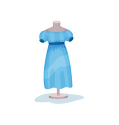 blue women dress with short sleeves on mannequin vector image