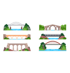 bridge with railway or arch with highway vector image