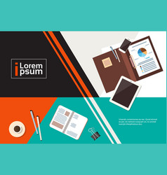 Business workplace desk top angle view documents vector
