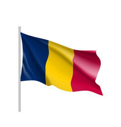 Chad realistic flag vector