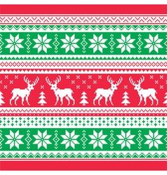 Christmas and Winter knitted pattern card vector image