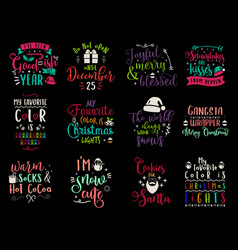 christmas calligraphy quotes set silhouette vector image