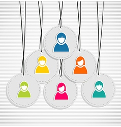 Colorful hanging team members badges vector image