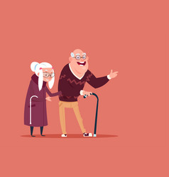 couple senior people walking with stick modern vector image