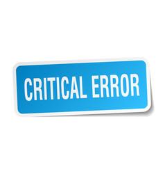 Critical error square sticker on white vector