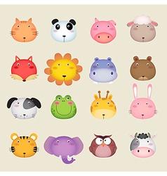 Cute cartoon animal head vector