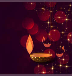 Diwali concept background with diya lamps vector