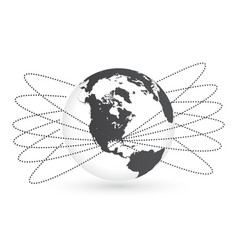 earth globe with orbits around isolated vector image