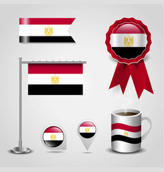 egypt country flag place on map pin steel pole vector image