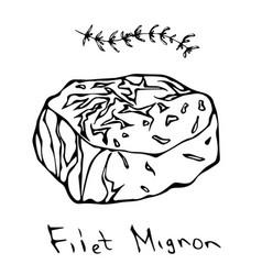 Filet mignon steak cut isolated on white vector