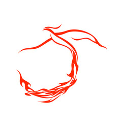 Fire tail phoenix flying symbol design vector
