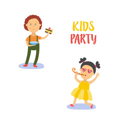 flat boy with piece of cake girl whistling vector image