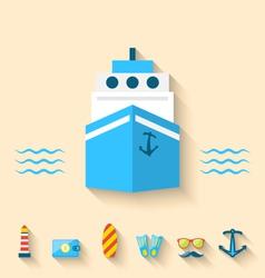 Flat set icons of cruise holidays and journey vector image