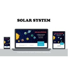 flat solar system colorful concept vector image
