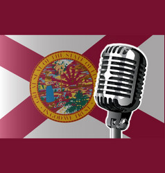 Florida flag and microphone vector