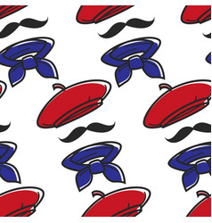 french outfit seamless pattern beret and mustache vector image