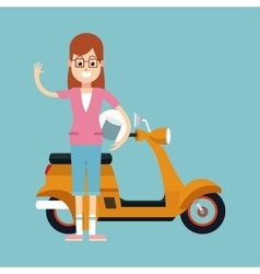 Fun woman glasses and motorcycle helmet vector