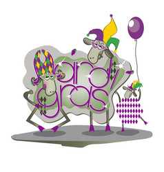 funny sheep on mardi gras vector image