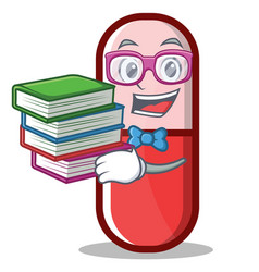 Geek pill capsule cartoon character vector