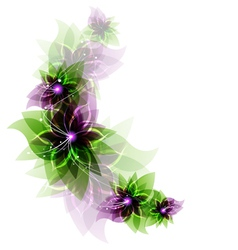Green and purple romantic flowers vector