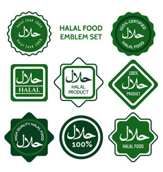Halal food labels set vector
