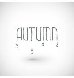 Hand drawn autumn word with drops vector